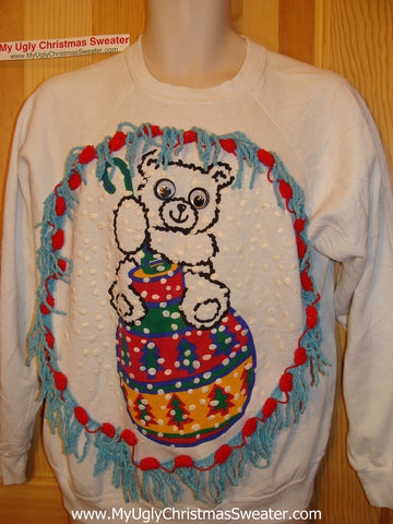 Ugly Christmas Tacky Sweatshirt 80s Retro Google Eyed Bear with Fringe (q32)