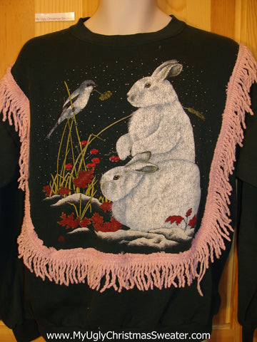 Best Tacky Christmas Sweatshirt Bunnies and Bird