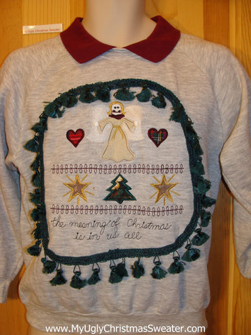 Tacky Christmas Sweatshirt Crafty Angel Inspirational Theme