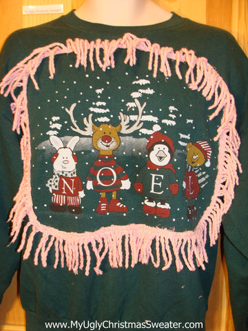 Tacky 80s Christmas Sweatshirt Animals NOEL