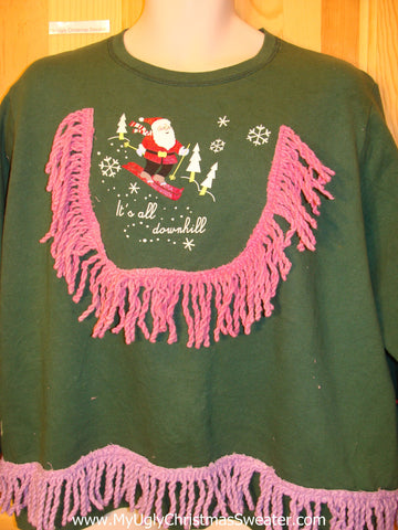Tacky Christmas Sweatshirt ITS ALL DOWNHILL Skiing Santa