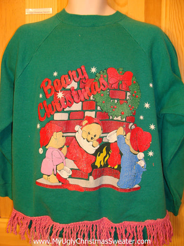 80s Tacky Christmas Sweatshirt BEARY CHRISTMAS