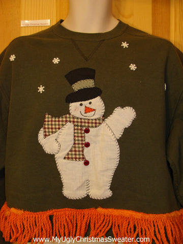 Tacky Christmas Sweatshirt Crafty Snowman Front and Back