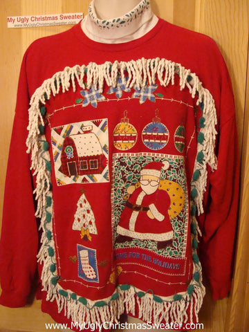 Ugly Christmas Tacky Sweatshirt 80s Retro Tneck Attached & Fringe (q33)
