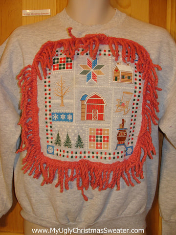 Tacky Christmas Sweatshirt Crafty Festive Grid of Fun