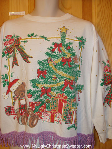 Tacky Christmas Sweatshirt 80s Tree and Bear