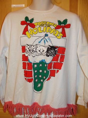Tacky Christmas Sweatshirt Three Cats in a Stocking