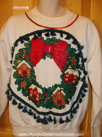 Tacky Christmas Sweatshirt Huge Wreath and Bow