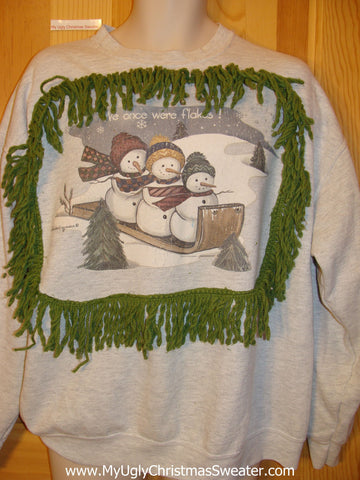 Tacky Christmas Sweatshirt Sledding Snowmen