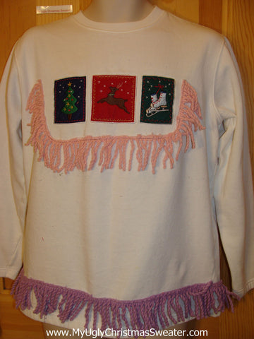 Tacky Christmas Sweatshirt Skates Reindeer and Fringe