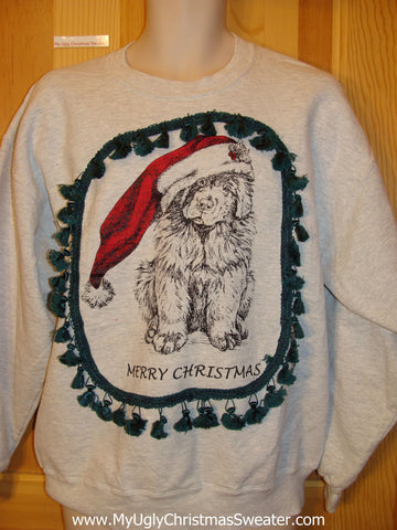 Tacky Christmas Sweatshirt Puppy Dog with Santa Hat