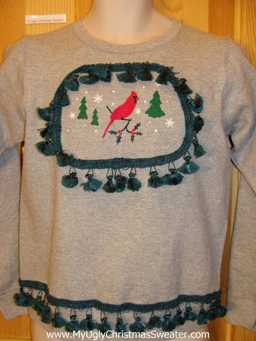 Tacky Christmas Sweatshirt Red Cardinal Bird