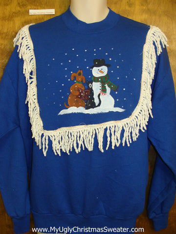 Tacky Christmas Sweatshirt Carolling Dog and Cat