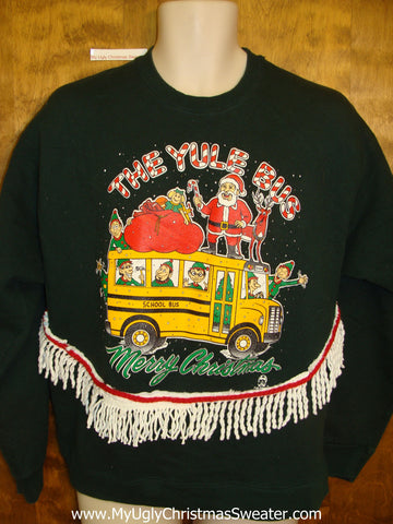 Tacky Christmas Sweatshirt School Bus Santa and Elves