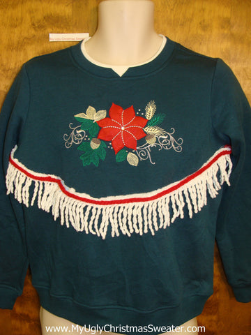 Cheap Tacky Christmas Sweatshirt with Red Poinsettia