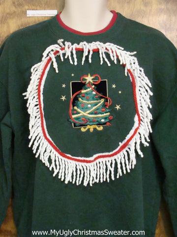 Tacky Green Christmas Sweatshirt with Festive Tree