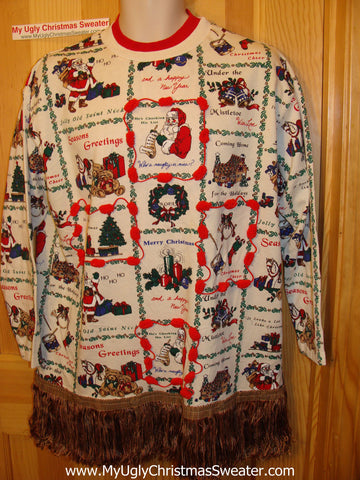 Ugly Christmas Tacky Sweatshirt Busy Pattern &  Fringe (q35)