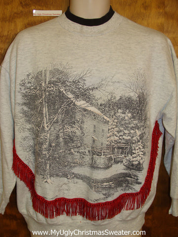 Tacky Christmas Sweatshirt Old House in Winter