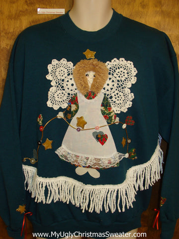 Crafty 3d Angel 80s Tacky Christmas Sweatshirt