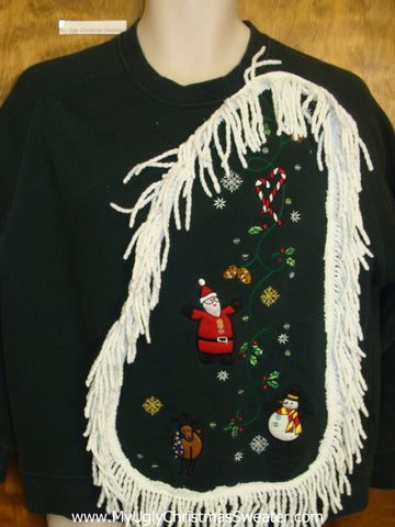 Tacky Christmas Sweatshirt Floating Santa