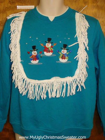 Trio of Jumping Snowmen Tacky Christmas Sweatshirt