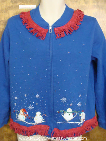 Tacky Christmas Sweatshirt Skiing Snowmen