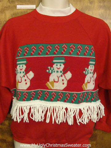Tacky Christmas Sweatshirt Happy Snowmen and Candy Canes