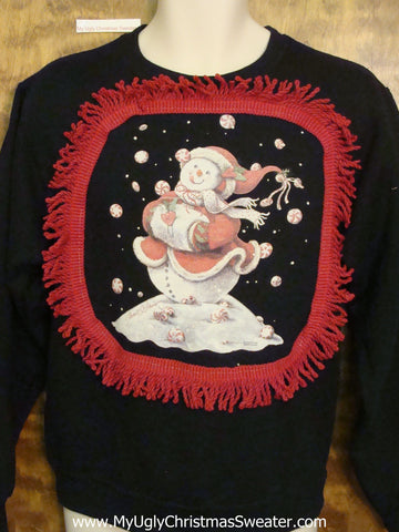 Tacky Christmas Sweatshirt Snowman with Hand Muffler