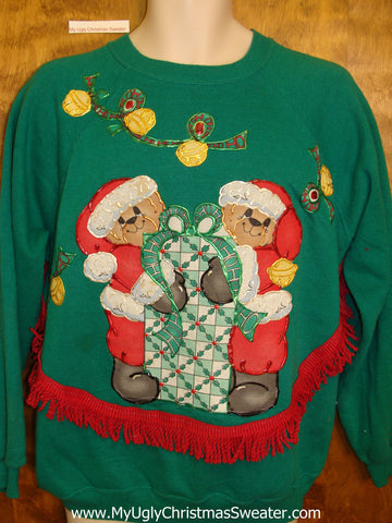 Home Crafted Tacky Christmas Sweatshirt Santa Bears