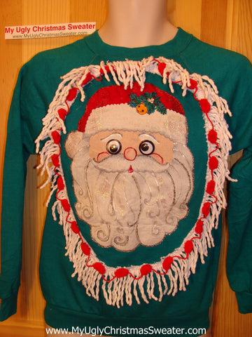 Ugly Christmas Tacky Sweatshirt Santa with Fringe Child (q36)