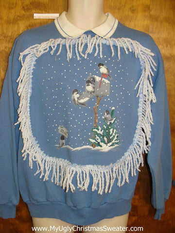 Tacky Christmas Sweatshirt Birds with the Mail in Winter