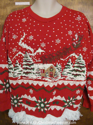 Tacky Christmas Sweatshirt 80s Best Santa and Reindeer