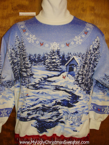 Tacky Christmas Sweatshirt 2sided 80s Winter Covered Bridge
