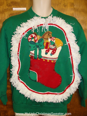 Tacky Christmas Sweatshirt Red Stocking with Horse