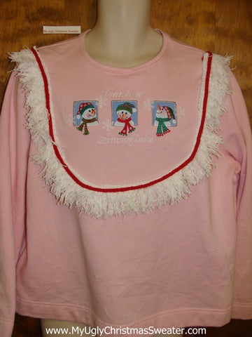 Tacky Christmas Sweatshirt Catch a Snowflake