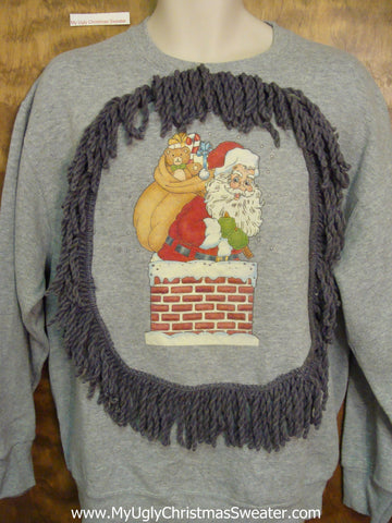 Tacky Christmas Sweatshirt Santa Stuck in Chimney