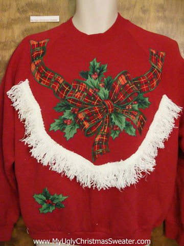 Crafty Tacky Christmas Sweatshirt with Plaid Bow