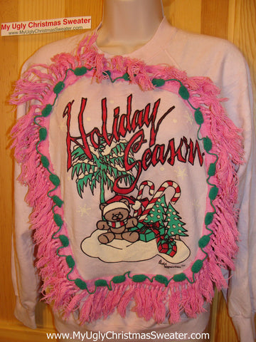 Ugly Christmas Tacky Sweatshirt Retro 80s with Pink Fringe Child(q37)