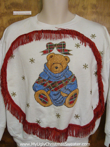 Bear with Plaid Slippers Tacky Christmas Sweatshirt
