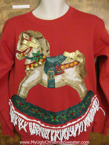 Best Tacky Christmas Sweatshirt 80s Crafty Rocking Horse