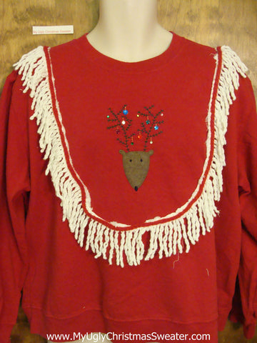 Tacky Christmas Sweatshirt Reindeer with Festive Antlers