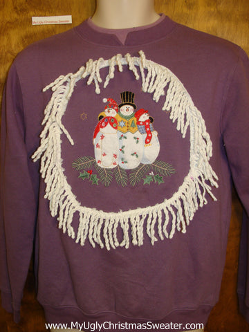 Tacky Christmas Sweatshirt Colorful Snowmen with Greenery