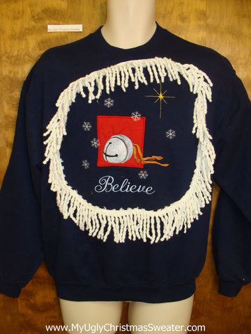 Tacky Christmas Sweatshirt BELIEVE Jingle Bell