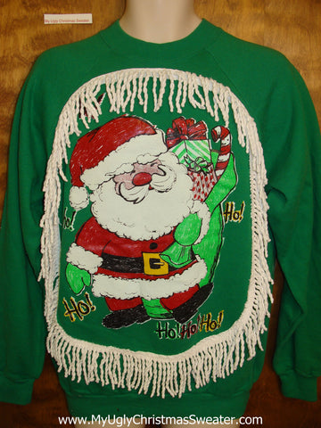 Tacky Green Christmas Sweatshirt 80s Style Huge Santa