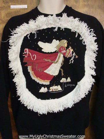 Tacky Christmas Sweatshirt Flying Angel with Trumpet