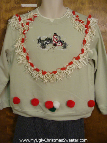 Tacky Christmas Sweatshirt Beachy Lighthouse Theme