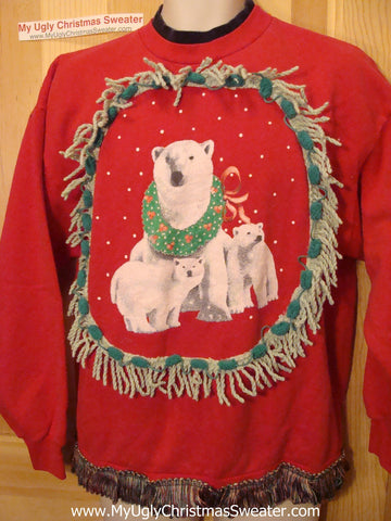 Ugly Christmas Tacky Sweatshirt Polar Bears with Fringe (q38)