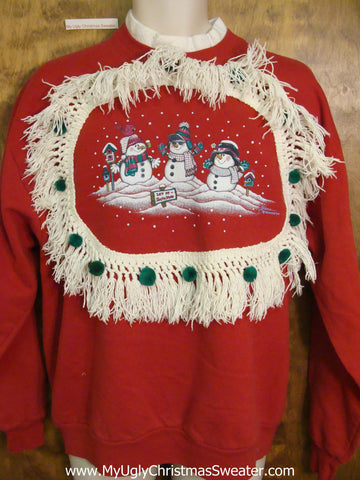 Tacky 2sided Christmas Sweatshirt Funny Melting Snowman