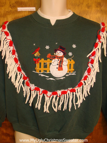 Tacky Christmas Sweatshirt Snowman and Red Cardinal