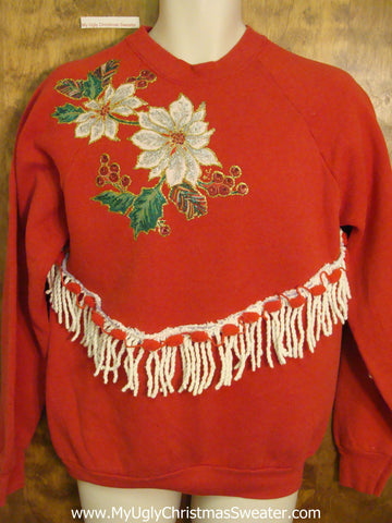 Tacky Christmas Sweatshirt with Crafty Poinsettias